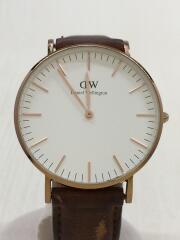 クォーツ腕時計/アナログ/レザー/WHT/BRW/