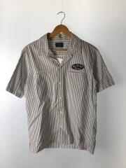 半袖シャツ/L/コットン/WHT/ストライプ