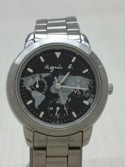 クォーツ腕時計/アナログ/ステンレス/WHT/SLV/V33J-0010