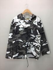 ミリタリージャケット/M/コットン/GRY/カモフラ/アノラックタイプ