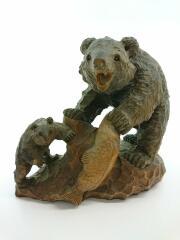 木彫り親子熊/置物