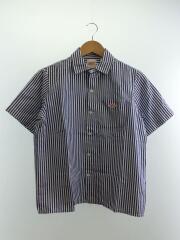 半袖シャツ/34/コットン/BLU/ストライプ