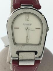 クォーツ腕時計/0208/アナログ/レザー/ホワイト/ボルドー
