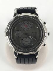 クォーツ腕時計/アナログ/ラバー/GRY/BLK/WATERPRO