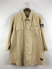 ミリタリーシャツ/タグ付き/7分袖シャツ/usa/コットン/BEG/米軍/6165113