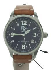 クォーツ腕時計/アナログ/レザー/ブラウン