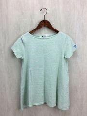 Tシャツ/FREE/コットン/GRN/ボーダー/ライトグレー/ライトグリーン/フレア/Aライン