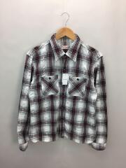 長袖シアサッカーシャツ/38/襟汚れ考慮/チェック柄/メンズ/アメカジ/レプリカ