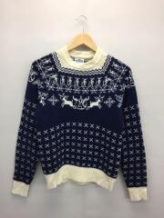 ノルディック柄セーター・ネイビー/XS/ウールナイロン
