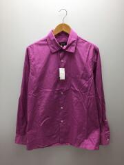 長袖プレーンシャツ・パープル/2/第二ボタン付近に汚れ有/コットン