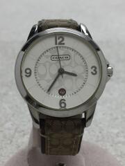 クォーツ腕時計/アナログ/レザー/シグネチャー/シルバー/ベージュ/ブラウン