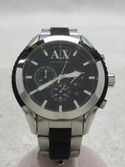クォーツ腕時計/アナログ/クロノグラフ/ステンレス×ラバー/ブラック/シルバー/AX1214
