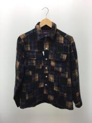 長袖シャツ/M/ウール/パッチワーク/グリーン/ブラウン/レッド/ベージュ/シャツジャケット