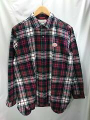 長袖シャツ/40/コットン/RED/チェック/バンソンエミレイユ