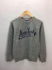 セーター/NYC プリント刺繍/S/ウール/グレー/1987892719-073
