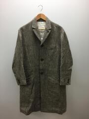 イールプロダクツ/Rum Coat Two/E-14162/コート/M/リネン/ウール/ヘリンボーン/ブラウン