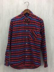 コーデュロイチェックシャツ/長袖シャツ/S/コーデュロイ/RED/チェック/NF705