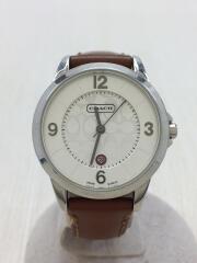 コーチ/クォーツ腕時計/アナログ/レザー/WHT/BRW/0290.1