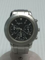 クォーツ腕時計/アナログ/ステンレス/BLK/SLV/V654-6100