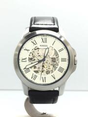 自動巻腕時計/アナログ/レザー/SLV/BLK/ベルト内側使用感有