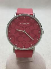 コーチ/クォーツ腕時計/アナログ/レザー/ピンク/ピンク