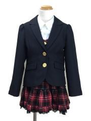 セットアップ/120cm/ポリエステル/BLK/チェック/ジャケット・スカート・シャツ3点セット