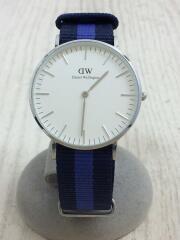 0603DW-SV/クォーツ腕時計/アナログ/ナイロン/WHT/NVY