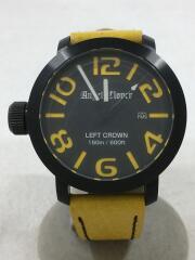 クォーツ腕時計/アナログ/レザー/BLK/YLW/LC45