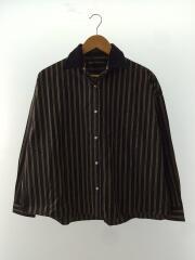 長袖シャツ/38/コットン/BLK/ストライプ/襟取り外し可能