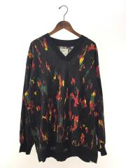 17AW/PAINT PT L/S V-NECK PULL-OVER/長袖Tシャツ/3/コットン/BLK