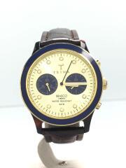 トリワ/BRASCO CHRONO/クォーツ腕時計/アナログ/レザー/ゴールド/ブラウン