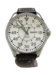 ハミルトン/カーキパイロット/クォーツ腕時計/アナログ/レザー/ホワイト/ブラウン/H646110