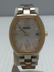 セイコー/ソーラー腕時計/アナログ/チタン/ホワイト/シルバー/ゴールド/1B22-0BY0