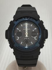 ソーラー腕時計・G-SHOCK/デジアナ/ラバー/ブラック/ブラック/AWG-M100A-1AJF