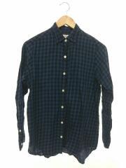 ツイルチェックボーイズレギュラーシャツ/ネルシャツ/M/コットン/ネイビー/チェック/8211-218-0036