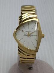 ベンチュラ/クォーツ腕時計/アナログ/ステンレス/ホワイト/ゴールド/H243010