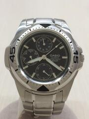 クォーツ腕時計/アナログ/ステンレス/BLK/MTD-1046