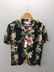 アロハシャツ/S/レーヨン/BLK/花柄/P3-115