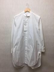 ウィングカラーロングシャツ/長袖シャツ/36/コットン/WHT/無地/12-01-94-01101