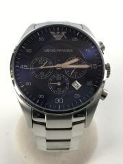 エンポリオアルマーニ/AR-5860/クォーツ腕時計/アナログ/ネイビー/シルバー/中古