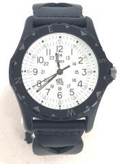 クォーツ腕時計/アナログ/レザー/ホワイト/ブラック/SAFARI/