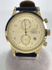 Lansen Chrono/クォーツ腕時計/アナログ/レザー/GLD/NVY/LCST103