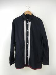 18AW前切替裾グログランオーバーシャツ/長袖シャツ/3/コットン/ネイビー