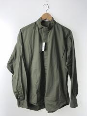 17AW スタンドカラーシャツ/46/コットン/カーキ
