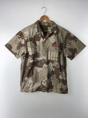 半袖シャツ/M/コットン/BEG/カモフラ