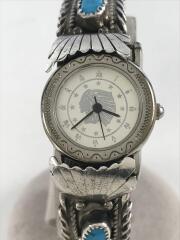 CJ刻印ターコイズ腕時計/バングル/SV925/カラーストーン/シルバー