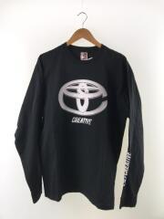 長袖Tシャツ/L/コットン/ブラック/プリント