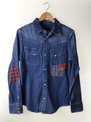 DSH014/western denim shirts/長袖シャツ/4/コットン/インディゴ/無地
