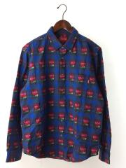 19ss/ROSE Buffalo Plaid Shirt/長袖シャツ/M/コットン/BLU/花柄