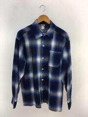 長袖シャツ/M/ウール/BLU/チェック/ オンブレーチェック柄シャツ
